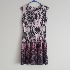 Gabby Skye Floral Fit and Flare Ombre Dress